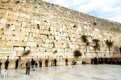 Western Wall in Jerusalem, praying Jews Royalty Free Stock Photo