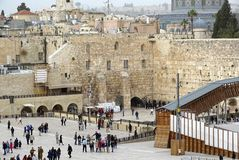 Western wall jerusalem with Temple Mount Stock Photography