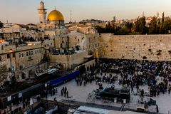 Western Wall located in Jerusalem, Israel. The Wailing Wall in Jerusalem.. It is the gathering place for Jews to prayer. It is believed to be a surviving wall of stock photo