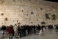 Western Wall at night Royalty Free Stock Images