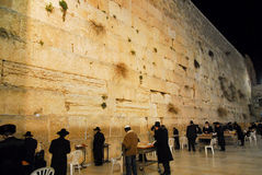 Western Wall at Night Stock Photography