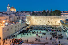 Western wall during Shabbat pray Royalty Free Stock Images
