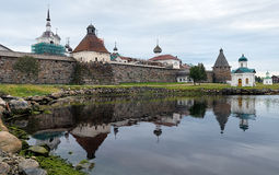 Western wall of Solovetsky monastery, Russia Royalty Free Stock Photography