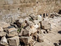 The Western Wall of the temple close-up, Jerusalem, Israel Stock Photography