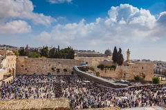 The Western Wall of Temple filled with people Stock Photo