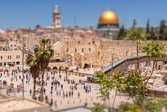 The Western Wall of the Temple and the Mosque of Omar. Royalty Free Stock Images