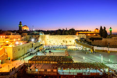 The Western Wall and Temple Mount, Jerusalem, Israel. The Western Wall and Temple Mount with Golden Dome of the Rock and al-Aqsa Mosque in the old town of Stock Images