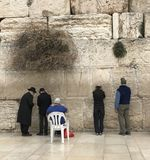 An inspiring shot of people praying at the Western Wall in Jerusalem Stock Images