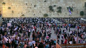 The Western Wall, Wailing Wall or Kote is located in the Old City of Jerusalem stock video footage