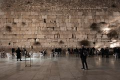 JERUSALEM, ISRAEL - DECEMBER 04, 2018: The Western Wall, Wailing Wall, or Kotel, known in Islam as the Buraq Wall,. The Western Wall, Wailing Wall, or Kotel stock photo