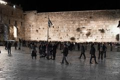 JERUSALEM, ISRAEL - DECEMBER 04, 2018: The Western Wall, Wailing Wall, or Kotel, known in Islam as the Buraq Wall,. The Western Wall, Wailing Wall, or Kotel royalty free stock photos