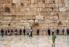 JERUSALEM, ISRAEL - DECEMBER 04, 2018: The Western Wall, Wailing Wall, or Kotel, known in Islam as the Buraq Wall. The Western Wall, Wailing Wall, or Kotel stock image
