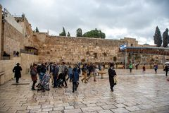 JERUSALEM, ISRAEL - DECEMBER 04, 2018: The Western Wall, Wailing Wall, or Kotel, known in Islam as the Buraq Wall. The Western Wall, Wailing Wall, or Kotel stock photo