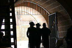 Western Wall Walk. Walking to the Wailing Wall, under the old city wall Jerusalem, Israel. Having exited the last security check you enter the Jewish Prayer area stock photography