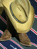 Western Wear. Cowboy hat and boots Royalty Free Stock Photo