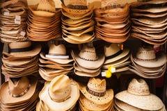 Western Wear Straw Hats Vendor Festival Cart Stock Photo