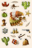Western wild west art stickers set. Gun, bullets, cactuses and many other items vector illustration