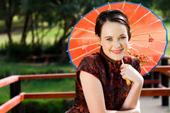 Western woman in chinese culture Royalty Free Stock Images