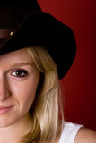 Western woman in cowboy hat Royalty Free Stock Image