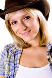 Western woman in cowboy hat Royalty Free Stock Photography