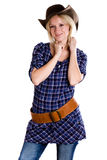 Western woman in cowboy shirt Stock Photography