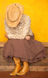 Western Woman With Her Head Down Stock Photos