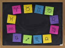 Western zodiac symbols on blackboard. Blackboard blank copy space a surrounded by twelve zodiac signs sketched with black pen on colorful crumpled sticky notes stock image