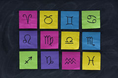 Western zodiac symbols on sticky notes Royalty Free Stock Images