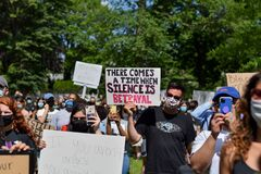 Westfield, NJ: 06/07/20: People Holding Up Signs To Support The Black Lives Matter Movement At A Protest For George Floyd`s Death