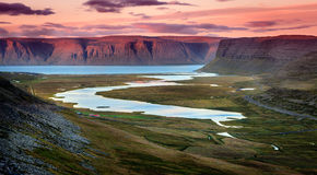 Westfjords. Scenic view of Westfjords in Iceland at sunset Stock Photos
