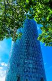 The Westhafen Tower (called das Gerippte, the Rhombic) in Frankfurt am Main, Germany Royalty Free Stock Photography