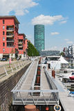 Westhafen Tower and private apartments in Frankfurt, Germany Royalty Free Stock Photo