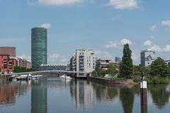 Westhafen Tower and private apartments in Frankfurt, Germany Stock Photos