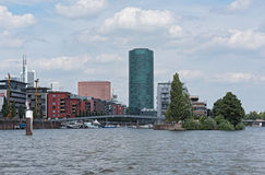 Westhafen Tower and private apartments in Frankfurt, Germany Royalty Free Stock Image