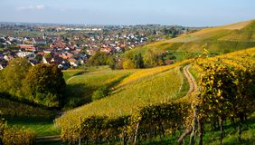 Westhalten村庄在阿尔萨斯在法国 库存照片