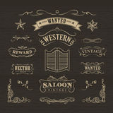 Westhand gezeichneter Fahnenweinleseausweis Stockfotos
