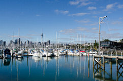 Westhaven Marina - Auckland. AUCKLAND, NZ - JUNE 02:Boats mooring in Westhaven Marina on June 02 2013.It's the largest yacht marina in the Southern Hemisphere Stock Images