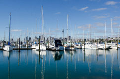 Westhaven Marina - Auckland. AUCKLAND, NZ - JUNE 02:Boats mooring in Westhaven Marina on June 02 2013.It's the largest yacht marina in the Southern Hemisphere Royalty Free Stock Photo