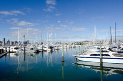Westhaven Marina - Auckland. AUCKLAND, NZ - JUNE 02:Boats mooring in Westhaven Marina on June 02 2013.It's the largest yacht marina in the Southern Hemisphere Stock Photos
