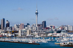 Westhaven Marina - Auckland. AUCKLAND, NZ - JUNE 02:Westhaven Marina looking east, towards the Sky Tower on June 02 2013.It's the largest yacht marina in the Royalty Free Stock Images