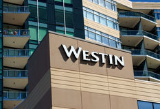 Westin Hotel Exterior. EDINA, MN/USA - AUGUST 11, 2015: Westin Hotel exterior. Westin Hotels & Resorts is an upscale hotel chain owned by Starwood Hotels & Royalty Free Stock Image