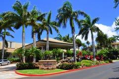 Westin Kaanapali Villas. View of the entrance to the Westin Kaanapali Villas, a luxury hotel and time share condominium resort, Kaanapali, Maui, Hawaii with palm Royalty Free Stock Images