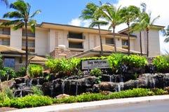 Westin Kaanapali Villas. View of the entrance to the Westin Kaanapali Villas, a luxury hotel and time share condominium resort, Kaanapali, Maui, Hawaii with palm Royalty Free Stock Photos