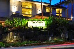 Westin Kaanapali Villas. View of the entrance to the Westin Kaanapali Villas, a luxury hotel and time share condominium resort, Kaanapali, Maui, Hawaii with palm Royalty Free Stock Photography