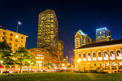 The Westin and Public Library at night, at Copley Square in Bost Stock Image