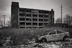 Westinghouse Electric Cleveland, Ohio and an abandoned car. Westinghouse Electric the old abandonment of a factory Stock Photography