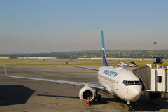 WestJet aircraft at the gate at Calgary International Airport Royalty Free Stock Photo