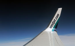 Westjet Wingtip. Westjet Airlines wingtip from the air Stock Photos