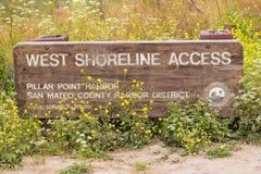Westküstenlinien-Zugang trailhead San Mateo Stockbild