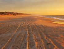 Westk?sten-Sonnenuntergang stockbilder